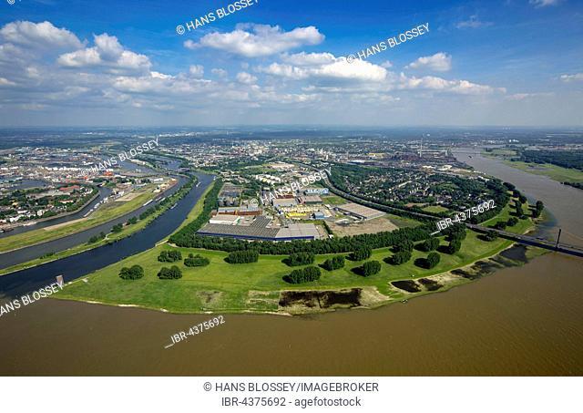 Aerial view, Kasslerfeld with Rheinbogen and Ruhr estuary, Duisburg, Ruhr district, North Rhine-Westphalia, Germany