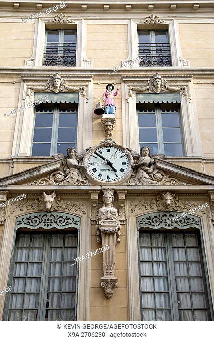 Jacquemard Facade of Hotel de Ville - City Hall, Nimes, France, Europe