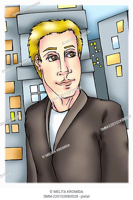 Blonde man in jacket in front of city buildings