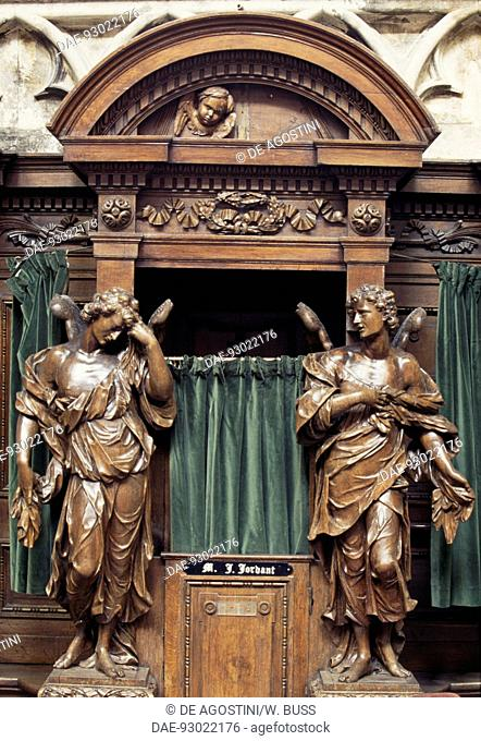 Wooden statues of angels, confessional box in the Cathedral of St Michael and St Gudula, 13th-17th century, Brussels, Belgium