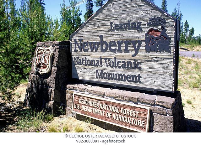 Monument entrance sign, Newberry National Volcanic Monument, Oregon