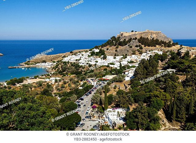 Elevated Views Of The Town Of Lindos, Rhodes, Greece