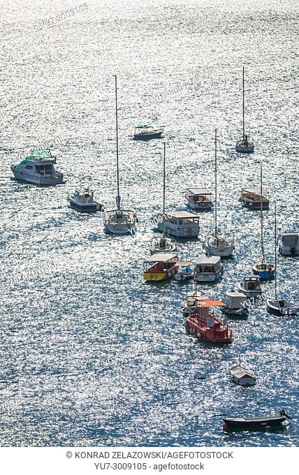 Boats in marina of Herceg Novi city on the Adriatic Sea coast in Montenegro