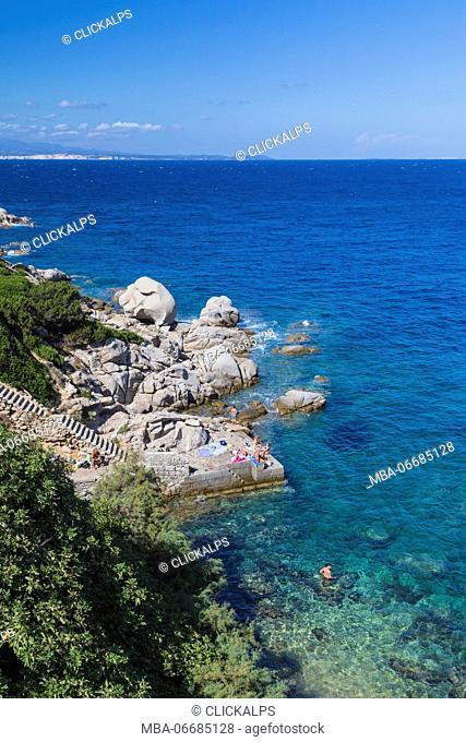 Top view of the crystal turquoise sea and cliffs Capo Testa Santa Teresa di Gallura Province of Sassari Sardinia Italy Europe