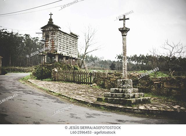 Horreo, granary built on pillars typical in Costa da morte, La Coruña province. Spain