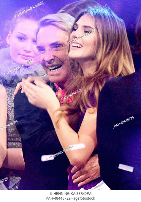 """Juror Wolfgang Joop (L)and winning candidate Stefanie during the final of the television show """"""""Germany's next Topmodel"""""""" in Cologne,Germany, 08 May 2014"""