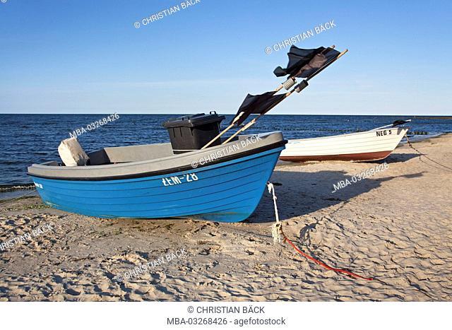 Fishing boat at the beach of Zempin, Usedom island, Mecklenburg-Western Pomerania, Germany
