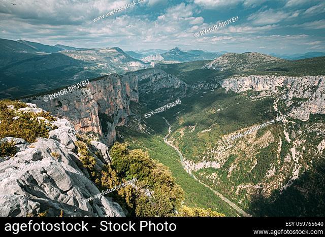 Gorges Du Verdo. Beautiful amazing landscape of the Gorges Du Verdon in south-eastern France. Provence-Alpes-Cote d'Azur