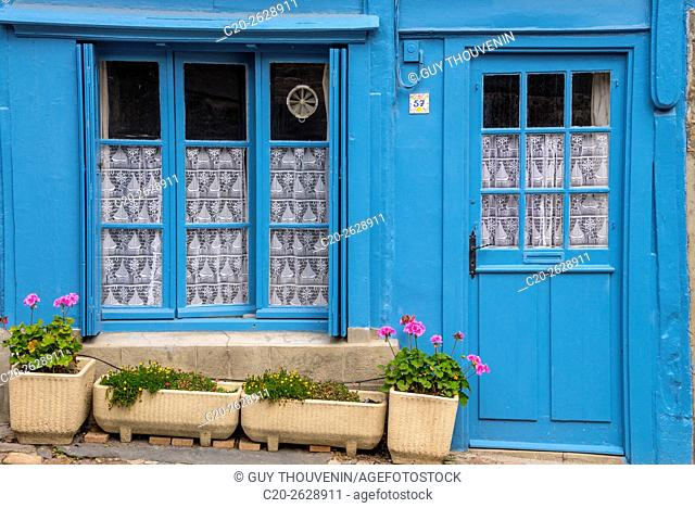 Blue painted window and door, typical breton facade, old town, Treguier, Cotes d'Armor, 22, Brittany, France