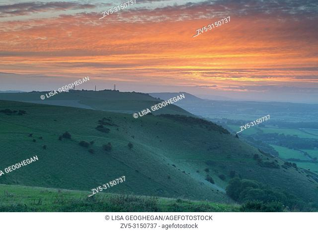 Sunset at Truleigh Hill from Devil's Dyke. Sussex, England, Uk
