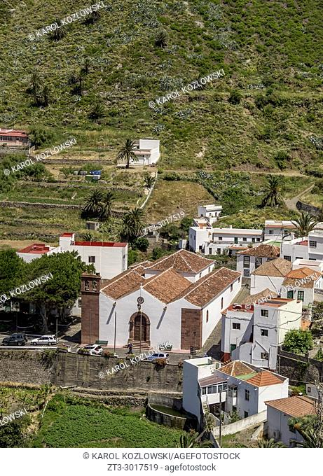 Church in Taganana Village, elevated view, Anaga, Tenerife Island, Canary Islands, Spain