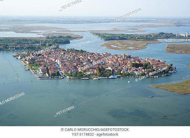 Aerial view of Burano island, Venice Lagoon, Italy, Europe