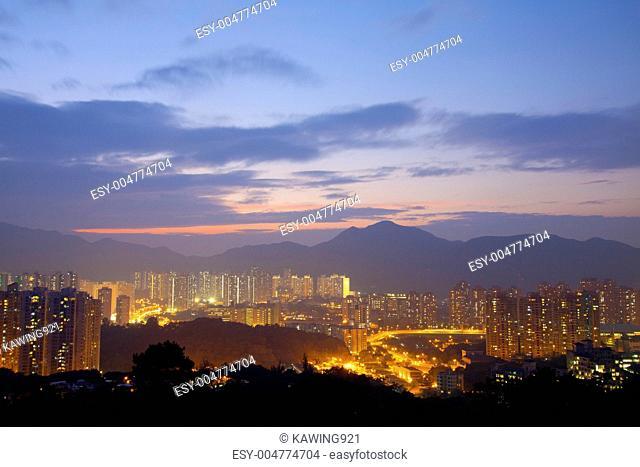 Hong Kong downtown at sunset time