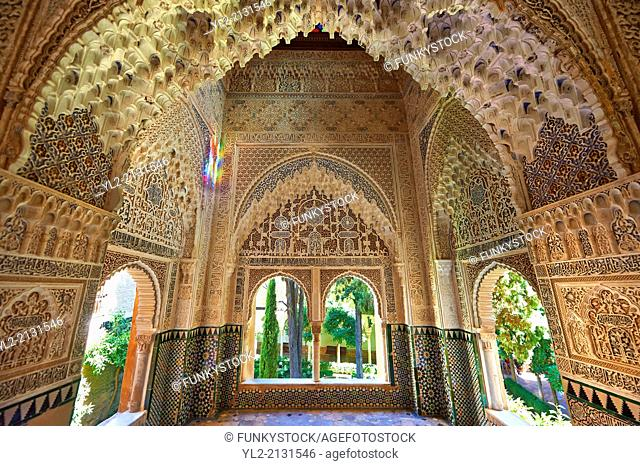 Arabesque Moorish stalactite or morcabe architecture of the Palacios Nazaries, Alhambra. Granada, Andalusia, Spain