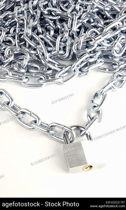 Link Chain Connected By Keyed Steel Locking Padlock on White