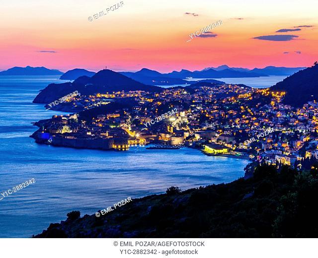 Dubrovnik Croatia twilight townscape scenery