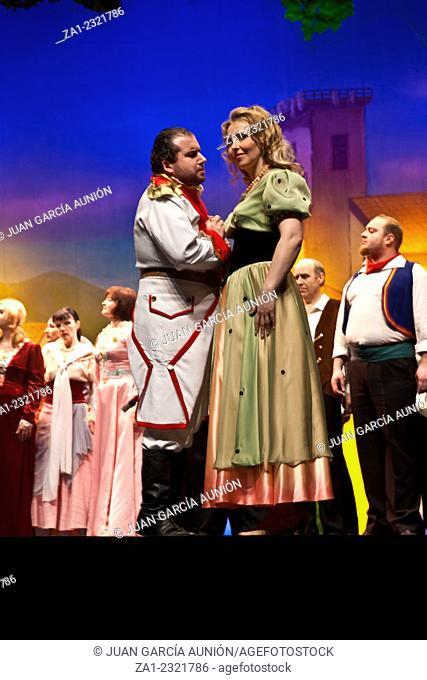 BADAJOZ, SPAIN - MAY 2: Members of the Ukraine State Opera perform L'Elisir d'amore by Donizetti