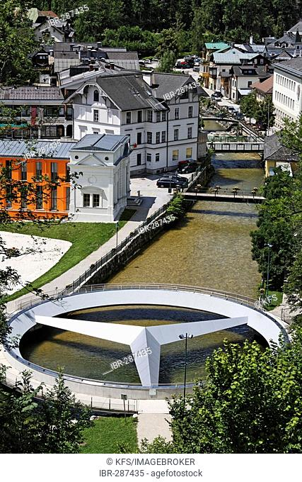 Mercedes bridge marking the center of Austria, Bad Aussee, Salzkammergut, Styria, Austria