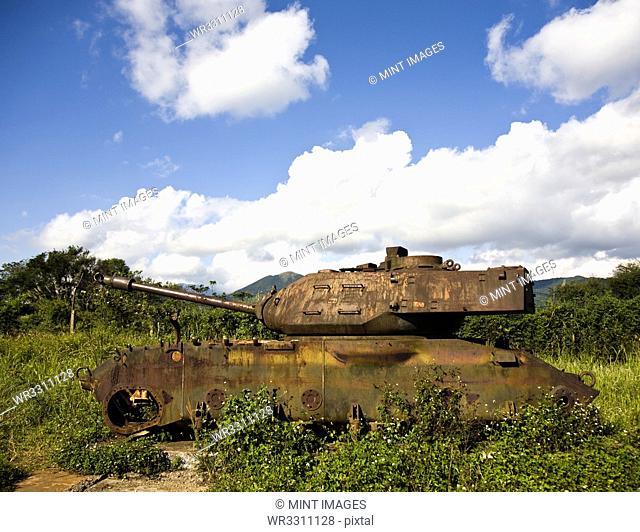 Rusted tank at Khe Sanh, Vietnam