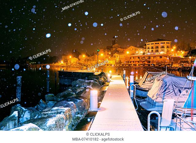 Clusane d'Iseo under the snowfall, Brescia province, Lombardy district, Italy