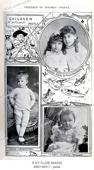 These photos appeared in Windsor Magazine, Part I, 1895. They all are of children of notable people at the time. Top: Ladies Sybil and Peggy-Primrose—the...