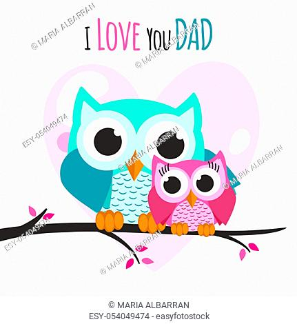 Fathers day owls on a tree. Vector illustration
