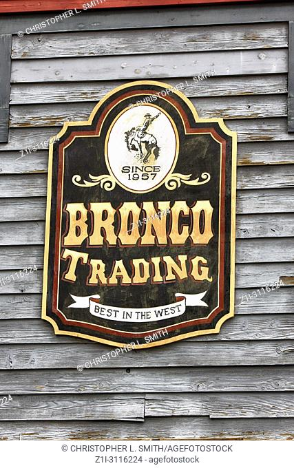 Sign above the Bronco Trading store on E Allen St in historic Tombstone, Arizona
