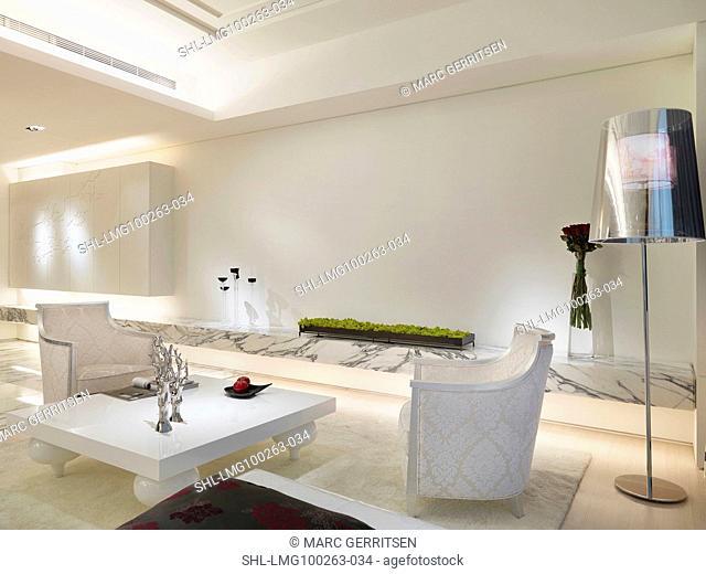 Elegant sitting area in modern white home