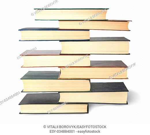 Vertical stack in old books top view isolated on white background