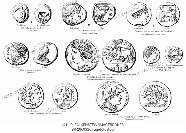 Historical graphic representation, ancient coins from Greece, money from antiquity, numismatics, 19th century, from Meyers Konversations-Lexikon encyclopaedia