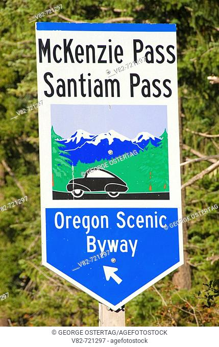 Byway sign, McKenzie Pass-Santiam Pass National Scenic Byway, Willamette National Forest, Oregon, USA