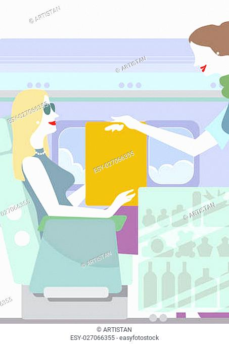 A stewardess is serving to a lady in the plane