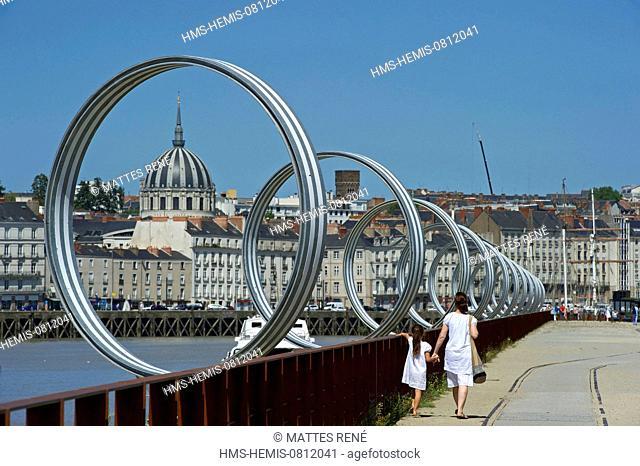 France, Loire Atlantique, Nantes, European Green Capital 2013, Ile de Nantes, quai des Antilles, Buren's rings on Loire River quays and the cupola of Notre Dame...
