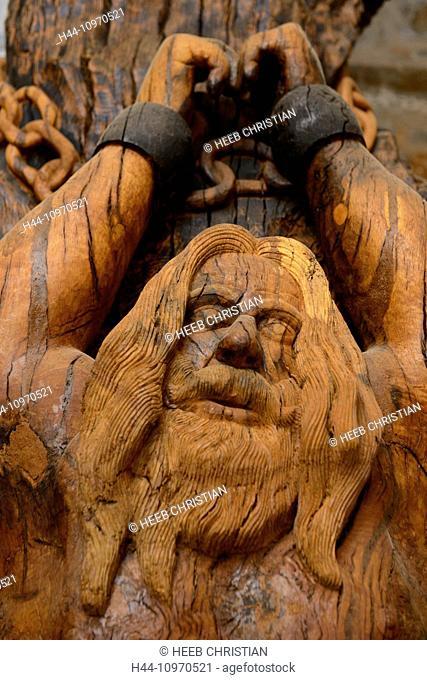 Europe, Greece, Greek, Crete, Mediterranean, island, Axos, Georgios Koutantos, Wooden, Sculpture, Museum