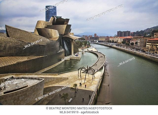 Guggenheim Museum in Bilbao (Basque Country, Spain) on a cloudy day