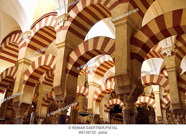 High ceiling with double arches of white stone and red brick at the Prayer Hall of Cordoba Cathedral Mosque