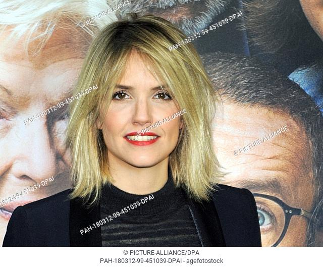 12 March 2018, Germany, Munich: The French actress Laurence Arne at the photocall of her film 'Die Sch'tis in Paris' (La Ch'tite Famille) (lit