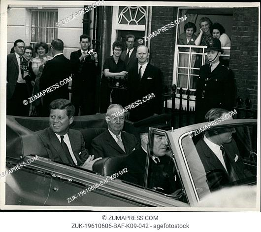 Jun. 06, 1961 - All eyes on the President: All eyes are on U.S. President John F. Kennedy (left), as he leaves the Buckingham Palace, Westminster