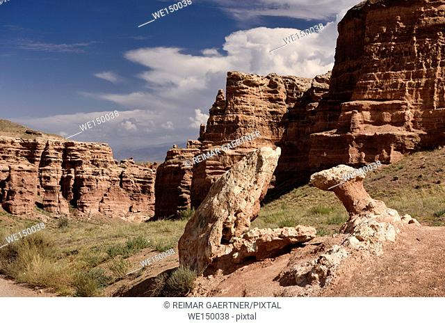 Frog and mushroom rock at Valley of Castles Charyn Canyon National Park Kazakhstan