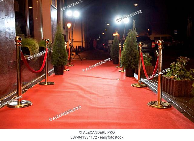 Rope barriers at red carpet event Stock Photos and Images | age