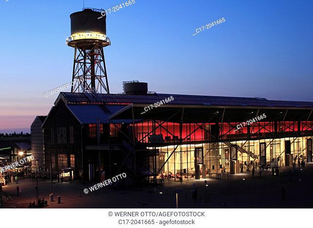 Germany, Bochum, Ruhr area, Westphalia, North Rhine-Westphalia, NRW, Jahrhunderthalle, ExtraSchicht 2013, night shot, illumination, industrial hall, music hall