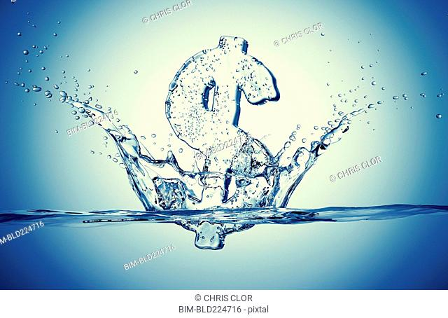 Water droplets splashing from sinking ice dollar symbol