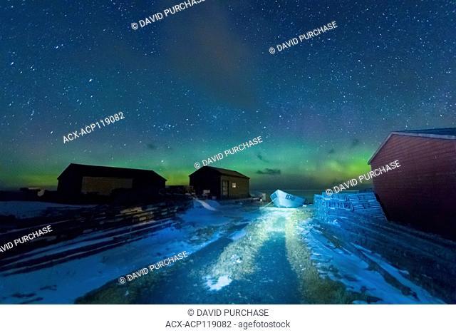 Night sky Aurora Borealis, Historic Fishing Site, Sally's Cove, Gros Morne National Park, Newfoundland and Labrador