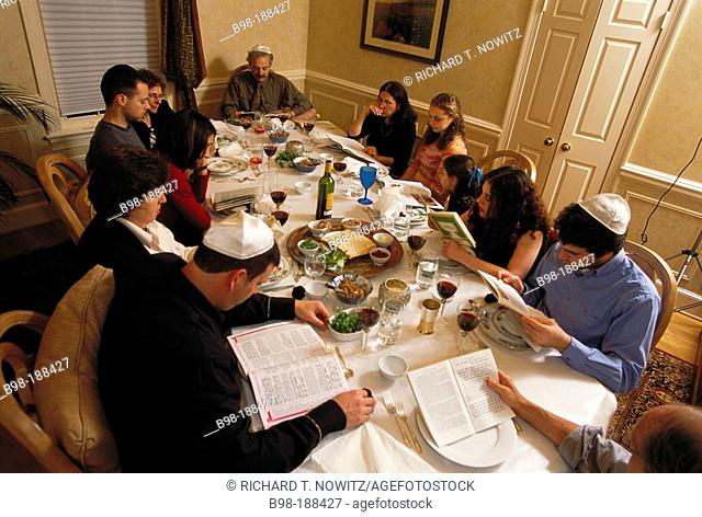The traditional Passover meal called the 'seder' which is usually celebrated around easter in the spring. Photo taken in Bethesda, Maryland