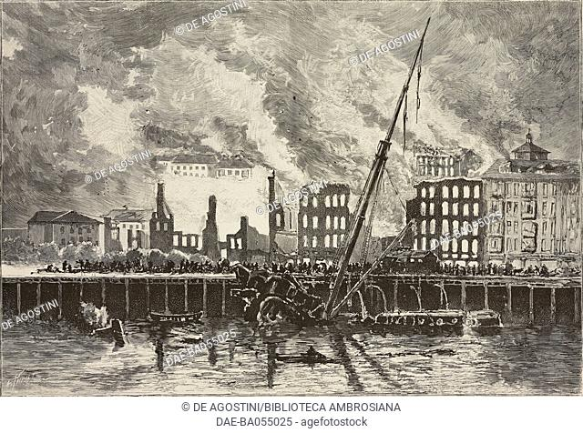The pier after the Cabo Machichaco ship explosion, Santander, Spain, illustration from L'Illustration, No 2646, November 11, 1893