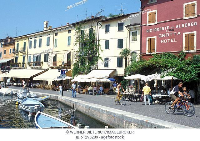 Restaurants at the port of Lazise, Lake Garda, Italy, Europe