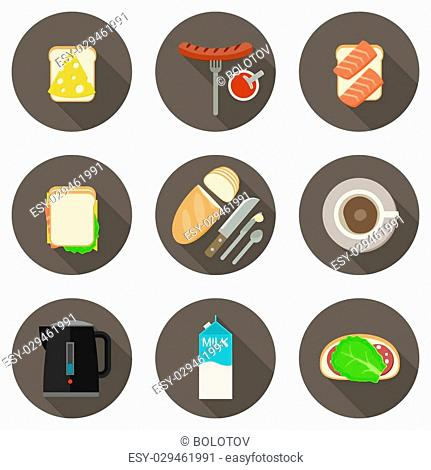 Breakfast flat icons set with long shadows
