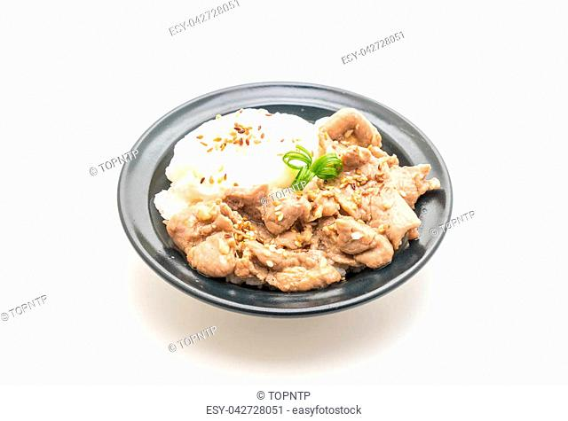 stir-fried pork with garlic on topped rice with egg isolated on white background
