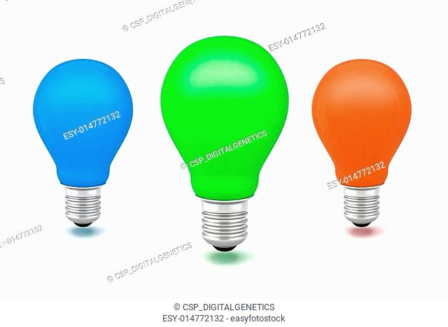3d image of colorful light bulbs