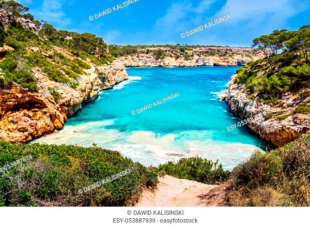 Beautiful beach and bay with turquoise sea water, Cala des Moro, Santanyi, Mallorca island, Spain